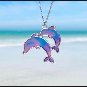 Colorful Enamel Dolphin Necklace